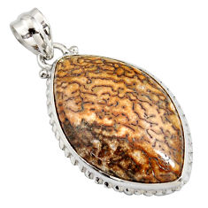 20.88cts natural brown dinosaur bone fossilized 925 silver pendant r8160