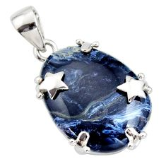 925 silver 18.28cts natural black pietersite (african) star pendant r8176