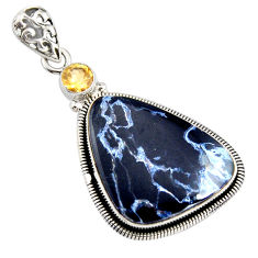 18.15cts natural black pietersite (african) citrine 925 silver pendant r8182