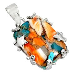 21.68cts multi color spiny oyster arizona turquoise 925 silver pendant r8217