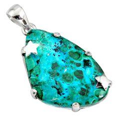 925 silver 25.72cts natural green malachite in chrysocolla star pendant r8224
