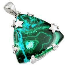 34.48cts natural green malachite in chrysocolla 925 silver star pendant r8225