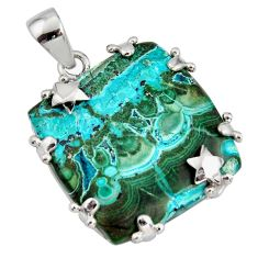 34.42cts natural green malachite in chrysocolla 925 silver star pendant r8226