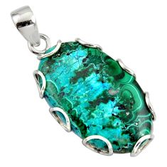27.49cts natural green malachite in chrysocolla 925 silver pendant r8231