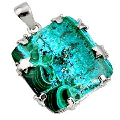 34.48cts natural green malachite in chrysocolla 925 silver star pendant r8233