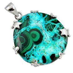 925 silver 40.44cts natural green malachite in chrysocolla star pendant r8237