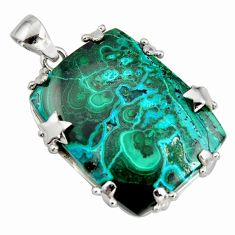 925 silver 41.11cts natural green malachite in chrysocolla star pendant r8240