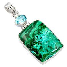 28.73cts natural green malachite in chrysocolla topaz 925 silver pendant r8241