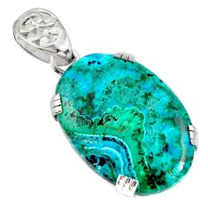925 silver 25.20cts natural green malachite in chrysocolla oval pendant r8244