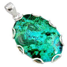 26.19cts natural green malachite in chrysocolla 925 silver pendant r8247