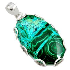 925 silver 35.47cts natural green malachite in chrysocolla oval pendant r8249
