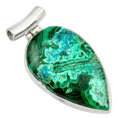 32.14cts natural green malachite in chrysocolla 925 silver pendant r8254