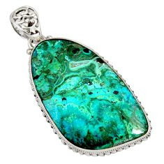 42.76cts natural green malachite in chrysocolla 925 silver pendant r8258