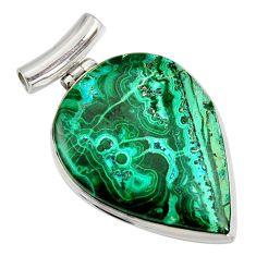 925 silver 34.33cts natural green malachite in chrysocolla pear pendant r8259