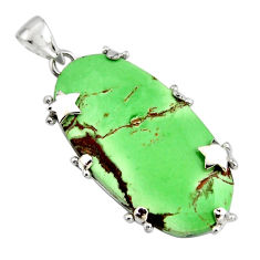 30.59cts natural green variscite 925 sterling silver star pendant jewelry r8261