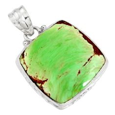 17.22cts natural green variscite 925 sterling silver pendant jewelry r8262