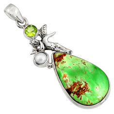 17.69cts natural green variscite 925 silver angel wings fairy pendant r8263