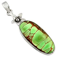 925 sterling silver 14.47cts natural green variscite oval flower pendant r8264