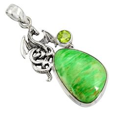 18.94cts natural green variscite peridot 925 silver dragon pendant jewelry r8270