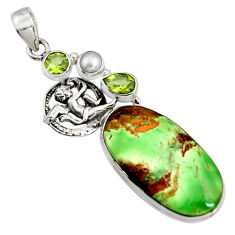 925 sterling silver 24.08cts natural green variscite peridot angel pendant r8271