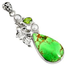 21.48cts natural green variscite peridot 925 silver deltoid leaf pendant r8272