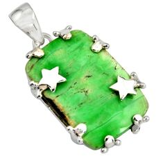 21.30cts natural green variscite 925 sterling silver star pendant jewelry r8273