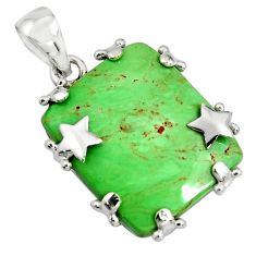 22.30cts natural green variscite 925 sterling silver star pendant jewelry r8274