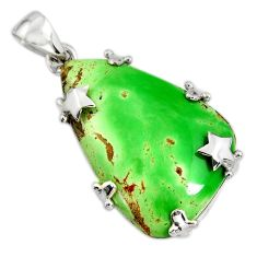 25.78cts natural green variscite 925 sterling silver star pendant jewelry r8277