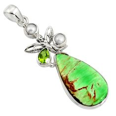 20.07cts natural green variscite 925 silver angel wings fairy pendant r8280