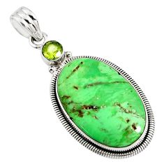 925 sterling silver 17.57cts natural green variscite oval peridot pendant r8291