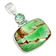 15.65cts natural green variscite amethyst 925 sterling silver pendant r8292