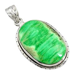 23.46cts natural green variscite 925 sterling silver pendant jewelry r8298