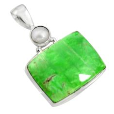 925 sterling silver 17.57cts natural green variscite pearl pendant jewelry r8299