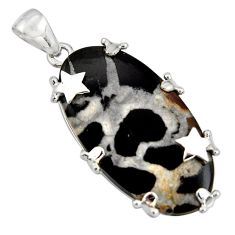 25.28cts natural black septarian gonads 925 sterling silver star pendant r8302