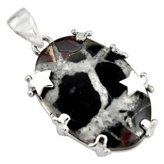 26.85cts natural black septarian gonads 925 sterling silver star pendant r8310