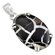 19.29cts natural black septarian gonads 925 sterling silver pendant r8321