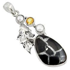 18.15cts natural black septarian gonads 925 silver deltoid leaf pendant r8324