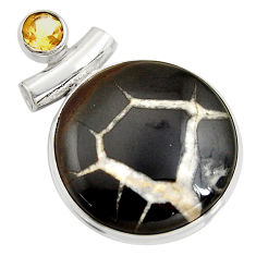 30.88cts natural black septarian gonads yellow citrine 925 silver pendant r8325