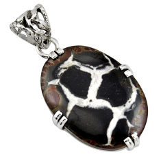 925 sterling silver 20.76cts natural black septarian gonads oval pendant r8331