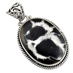 24.00cts natural black septarian gonads 925 sterling silver pendant r8332