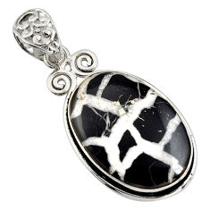 28.08cts natural black septarian gonads 925 sterling silver pendant r8338