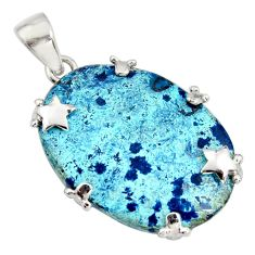 23.95cts natural blue shattuckite 925 sterling silver star pendant jewelry r8387