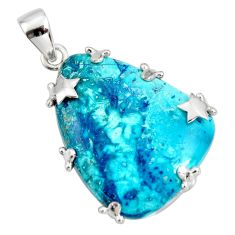 29.75cts natural blue shattuckite 925 sterling silver star pendant jewelry r8391