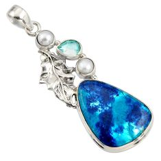 925 silver 19.99cts natural blue shattuckite topaz deltoid leaf pendant r8394