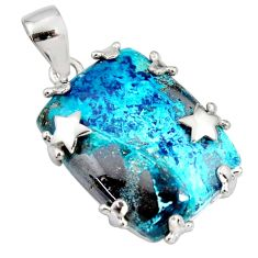 925 sterling silver 30.36cts natural blue shattuckite star pendant jewelry r8399