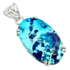 20.38cts natural blue shattuckite 925 sterling silver pendant jewelry r8405