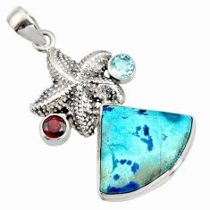 19.99cts natural blue shattuckite red garnet 925 silver star fish pendant r8406