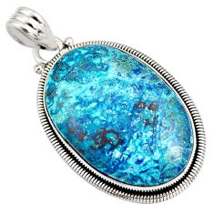 26.96cts natural blue shattuckite 925 sterling silver pendant jewelry r8414