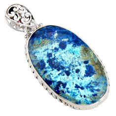 24.84cts natural blue shattuckite 925 sterling silver pendant jewelry r8417