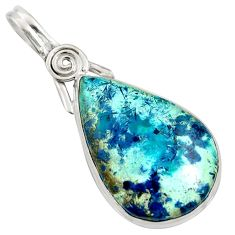 925 sterling silver 19.23cts natural blue shattuckite pear pendant jewelry r8418